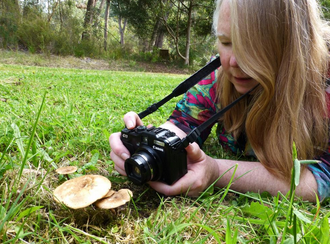 Picture of photographing fungi on an identification foray